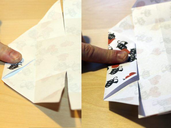 Papierbox Seite einfalten