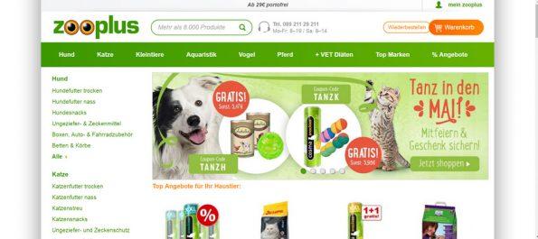 Zooplus Startseite shopeigenes Angebot