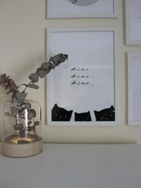 Katzen Schriftzug Miau innerhalb der Katzen-Bilderwand
